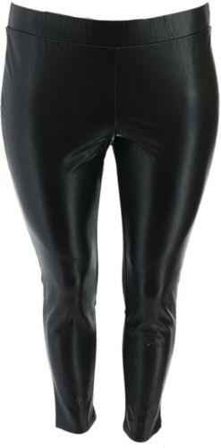 BROOKE SHIELDS Petite Faux Leather Ponte Back Leggings Black 12P NEW A342035