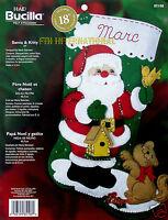 Bucilla Santa & Kitty 18 Felt Christmas Stocking Kit 85108 Bird, Birdhouse Cat