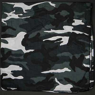 100/% Cotton CAMO BANDANA Camouflage Design Bandanna Cow Boy Girl Biker Scarf UK