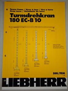 """Data Sheet / Data Sheet Liebherr Toys Tower Crane 180 Ec-B 10 """" Stand 03/2001"""