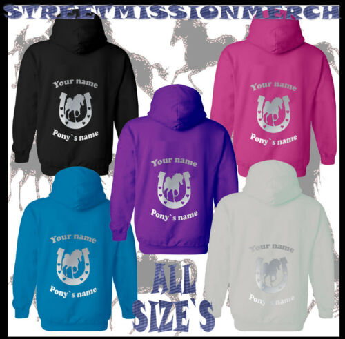 PERSONALISED HORSE RIDING HOODIE Equestrian GIFT Children's Adult's PONY/&SHOE