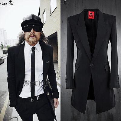 ByTheR Men's Fashion Basic Solid Black One Button Slim Long Suit P0000QWO UK