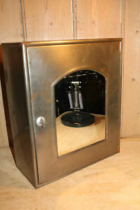 vintage metal bathroom cabinet cupboard mirror industrial