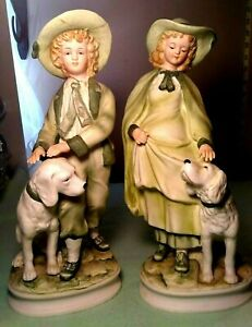 VINTAGE-ANDREA-BY-SADEK-7154-BISQUE-BOY-amp-GIRL-WITH-DOGS