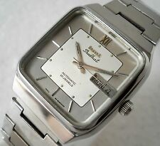 COLLECTOR HMT PRABHAT AUTOMATIC INDIA SQUAR SILVER DIAL STEEL MEN'S WATCH 31MM