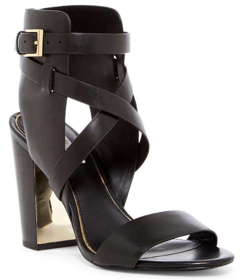 298 Rachel Zoe Dalella Leather Open Toe Ankle Strap Sandal Heels Black 8.5