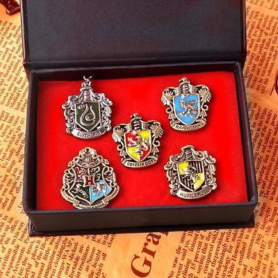 5pcs set Harry Potter Gryffindor Slytherin Ravenclaw Hufflepuff Brooch Breastpin