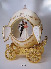 AUTHENTIC DECORATED OSTRICH EGG ~ LUCKY IN LOVE BRIDAL  COACH ~ MUSICAL #10114