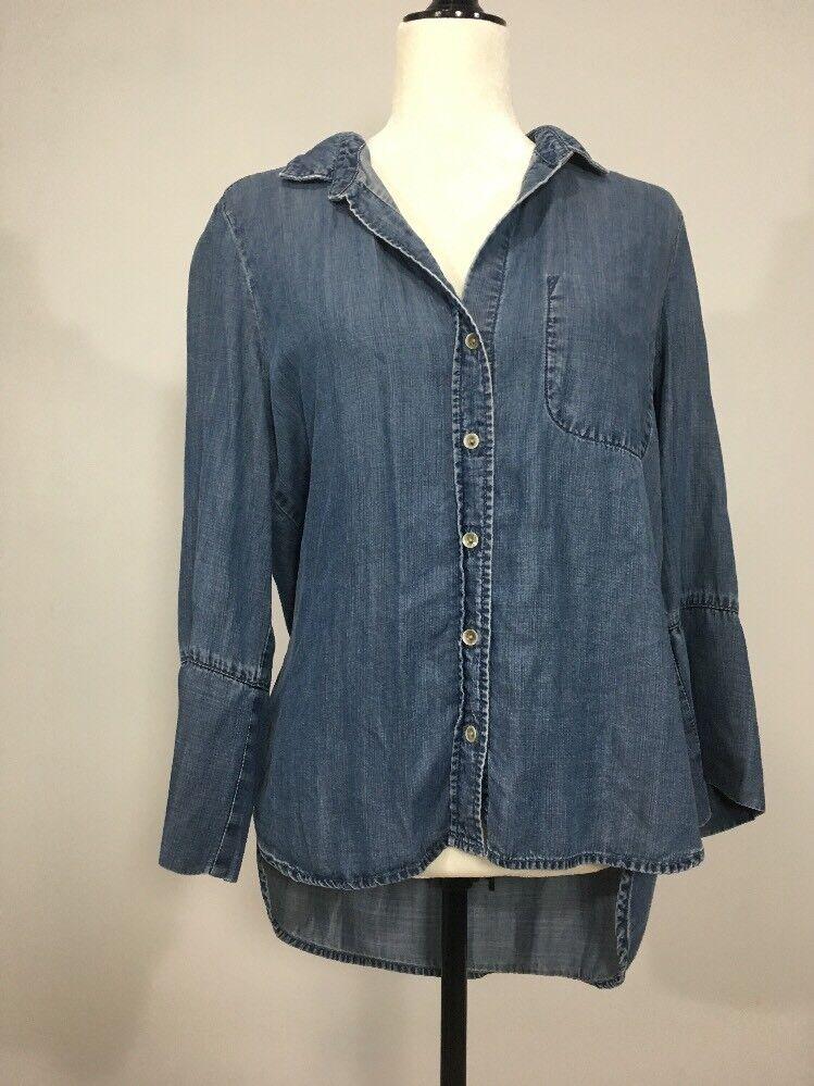 Woherren BELLA DAHL Medium Button Down Tencel Blau Shirt