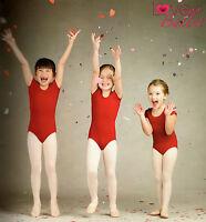 NWT CAPEZIO SHORT SLEEVE GARNET  LEOTARD COT/LYC CHILD SIZES BALLET DANCE RED
