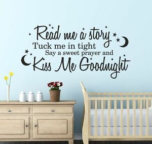 Read Me A Story And Tuck Me In Tight Wall Sticker Decal Quote For Nursery Wqa21 Ebay