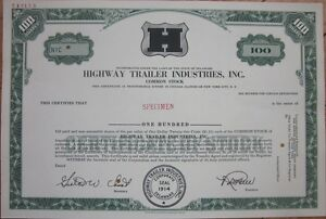 SPECIMEN-Stock-Certificate-039-Highway-Trailer-Industries-Inc-039-Green