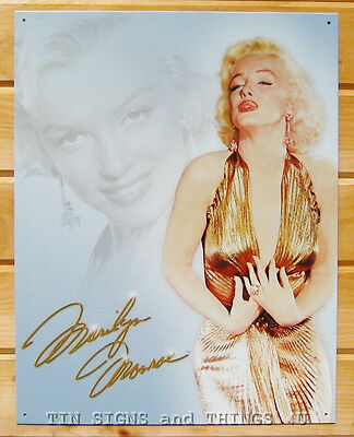 Marilyn Monroe gold dress TIN SIGN metal vintage pin-up poster wall decor 1656