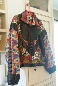 """MONA MODE"" Vintage 80's Women Black Leather & Multi Color Jacket Sz L Awesome"