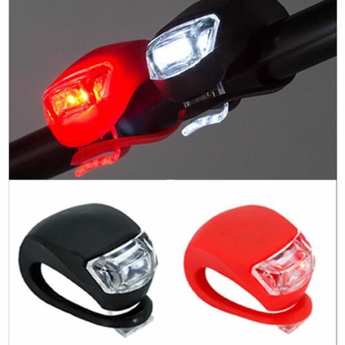 1Pair Waterproof Bike Bicycle Head Front Rear Silicone Wheel LED Flash Light ON