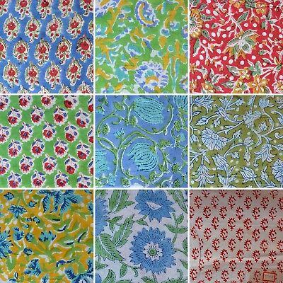Pure Cotton Fabric Vintage Indian Hand Block Print Running Loose Rug Making Art