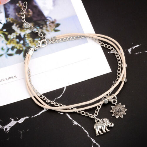 Wrist Anklet Hippy Bohemian Sun Elephant White Corded Ankle Bracelet Gift CB