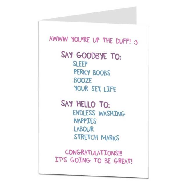 greeting card congratulations mother to be pregnancy novelty funny rude up duff - Pregnancy Congratulations Card