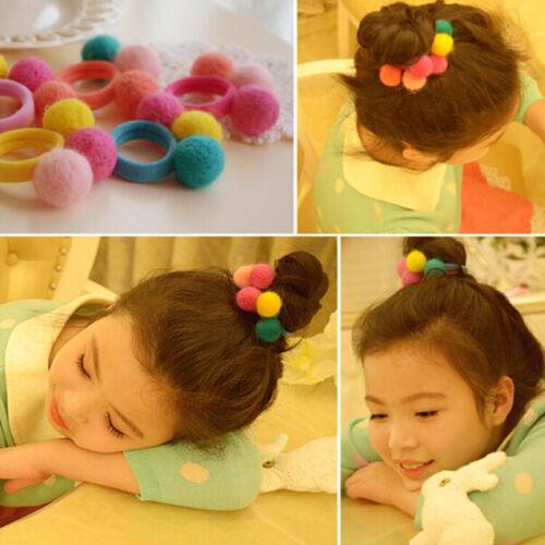 5//10X Elastic Girl Pompom Ball Hairband Rope Hair Band Ponytail Holder Kids cb