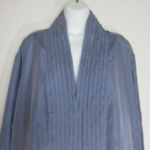 J-Jill-Womens-Crinkled-Silk-Snap-Front-Blouse-Top-4XL-Dusty-Violet-Purple-Blue