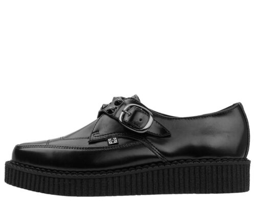 T A9159 Creepers Spiked Leather Monk Buckle Pointed k Black Tuk u Shoes qEArSE