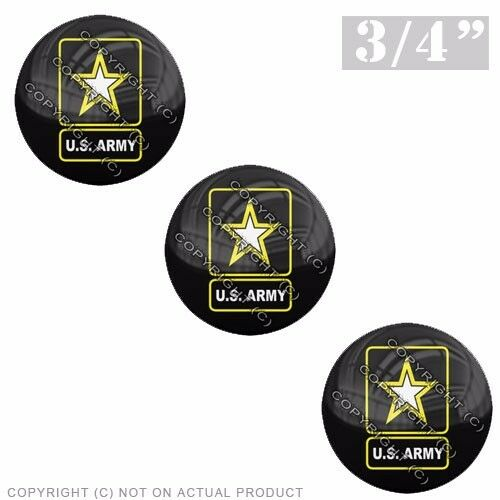 "US ARMY LOGO 3 Pack Gel Top Domed Glossy 3//4/"" 3M Premium Decal Stickers"