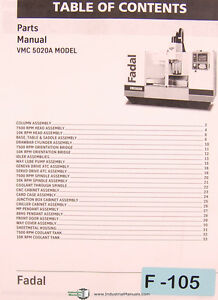 Details about Fadal Giddings & Lewis, VMC 5020A Machining Center Parts LIst  Manual Year (2001)