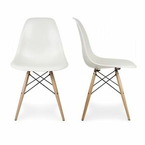 belleze 2 pc dsw style plastic molded side dining chairs modern w