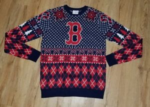 Boston Red Sox Ugly Holiday Sweater Mens Size Small Snow Flakes