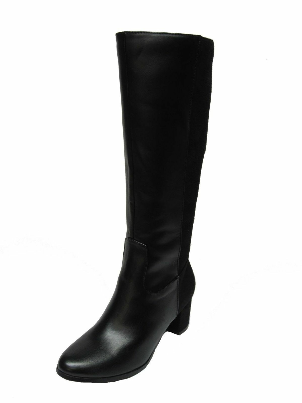 Spot On  F50366 Black Black Black Synthetic Smart Zip Up  Long Boots 093923