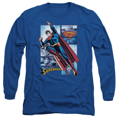 SUPERMAN Action Hero PANELS Collage Licensed Adult Long Sleeve T-Shirt S-3XL
