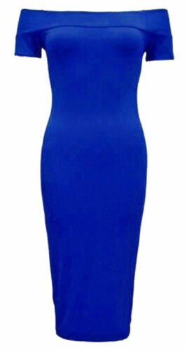 New Ladies plus Size Long Bodycon Pencil Off Shoulder Midi Dress 16-26