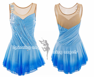 Ice Figure Skating Dress  Rhythmic Gymnastics  Twirling Competition bluee flowers