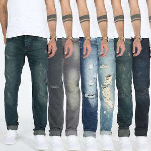 Designer-Uomo-Slim-Fit-Jeans-Destroyed-Look-Pantaloni-Stretch-Denim