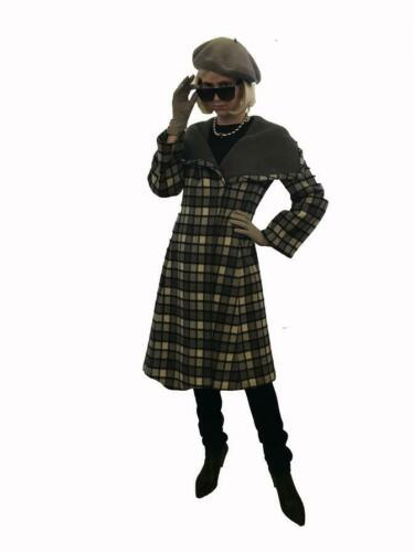 1960s Pauline Trigere Grey Plaid Coat