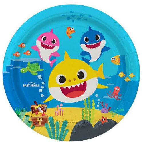 BABY SHARK DooDooDoo Happy Birthday Party lunch dinner PAPER PLATES 8pc fish sea