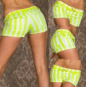 Sexy-Miss-Ladies-Girly-Hip-Hot-Pant-Shorts-L-38-XL-40-White-Yellow