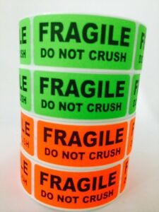 100 1x3 FRAGILE DO NOT CRUSH  Labels Stickers NEON RED GREEN FLUORESCENT NEW