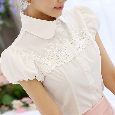 Women Lady OL  Short Sleeve Doll Collar Lace Button Down Shirt Blouse Tops