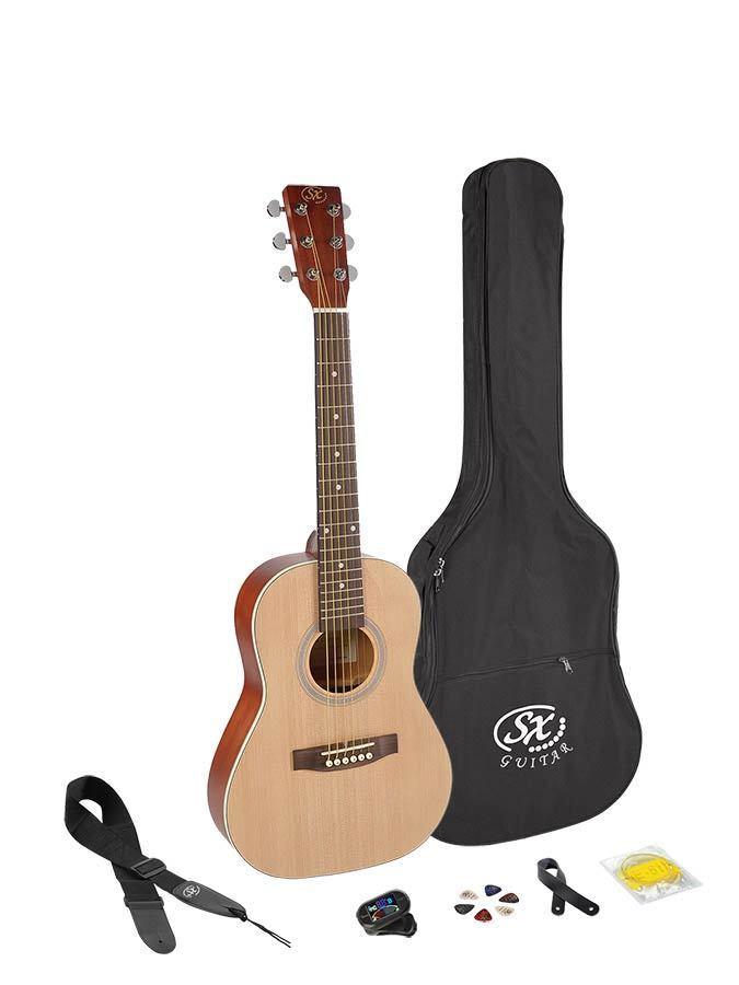 SX SD202k 1 2 Westerngitarre Traveller Kindergitarre Set Tasche Stimmgerät Saite
