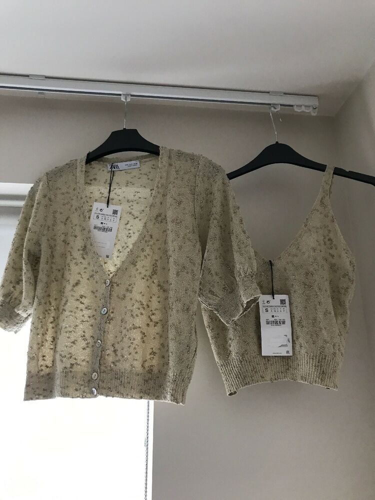 Zara 2 Pièces Golden Metallic Thread Haut & Cardigan Co Ord Set. Taille S