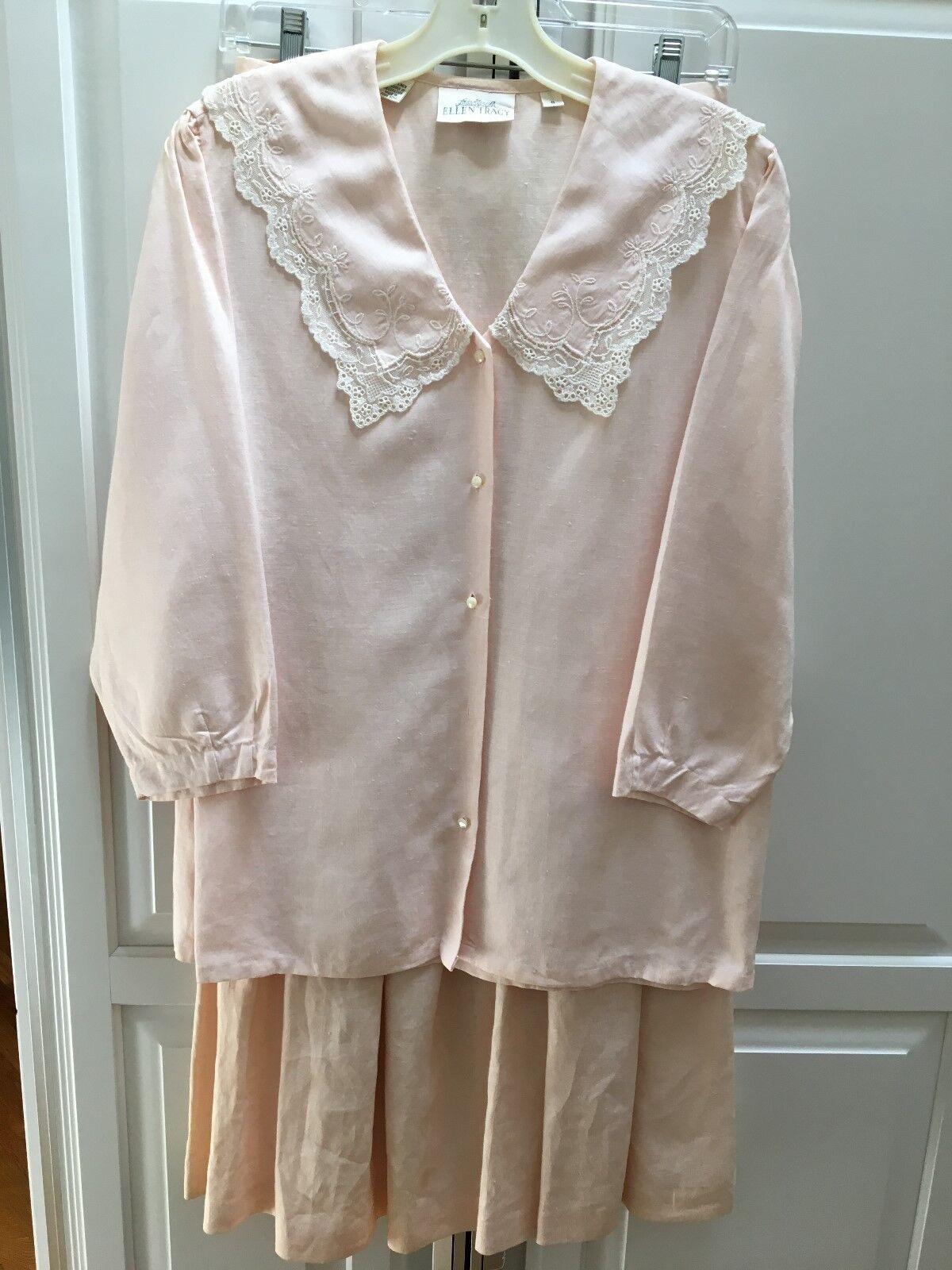 LINDA ALLARD ELLEN TRACY Pink Linen Pleated Skirt and top medium