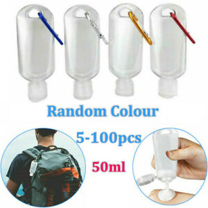 20X Empty Refillable Storage Bottle Plastic With Key Ring Hook Portable Travel