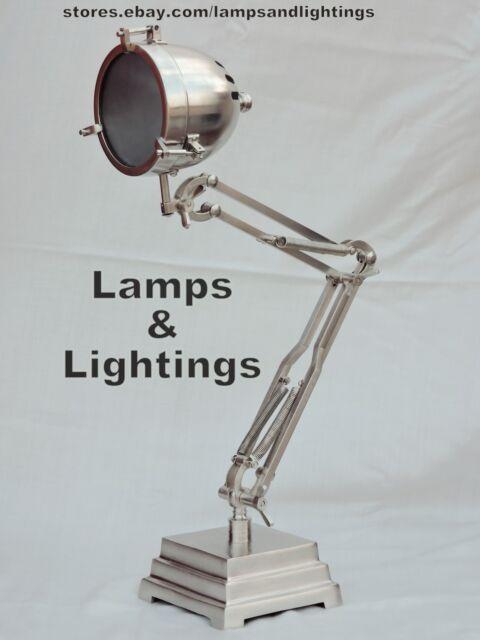 Industrial Pewter Table Desk Lamp Light Brass Pipe Steampunk Metal Modern Lamp.