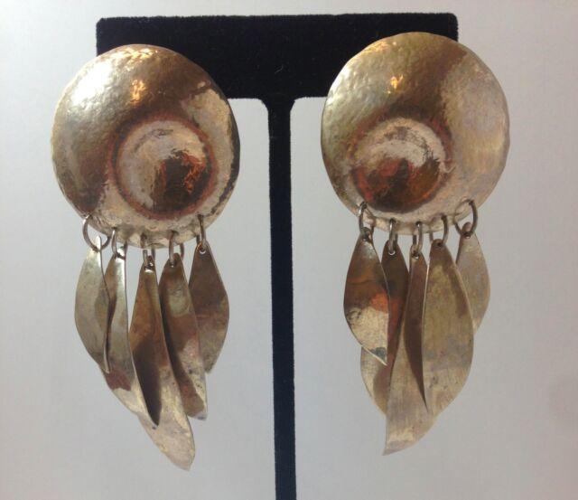 Vintage Retired Susan Cummings Hammered Sterling Silver Disk Modern Earrings