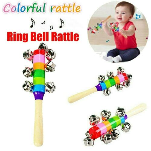 Rainbow Musical Instrument Baby Toy Wooden Hand Jingle Ring Bell Rattle Sale