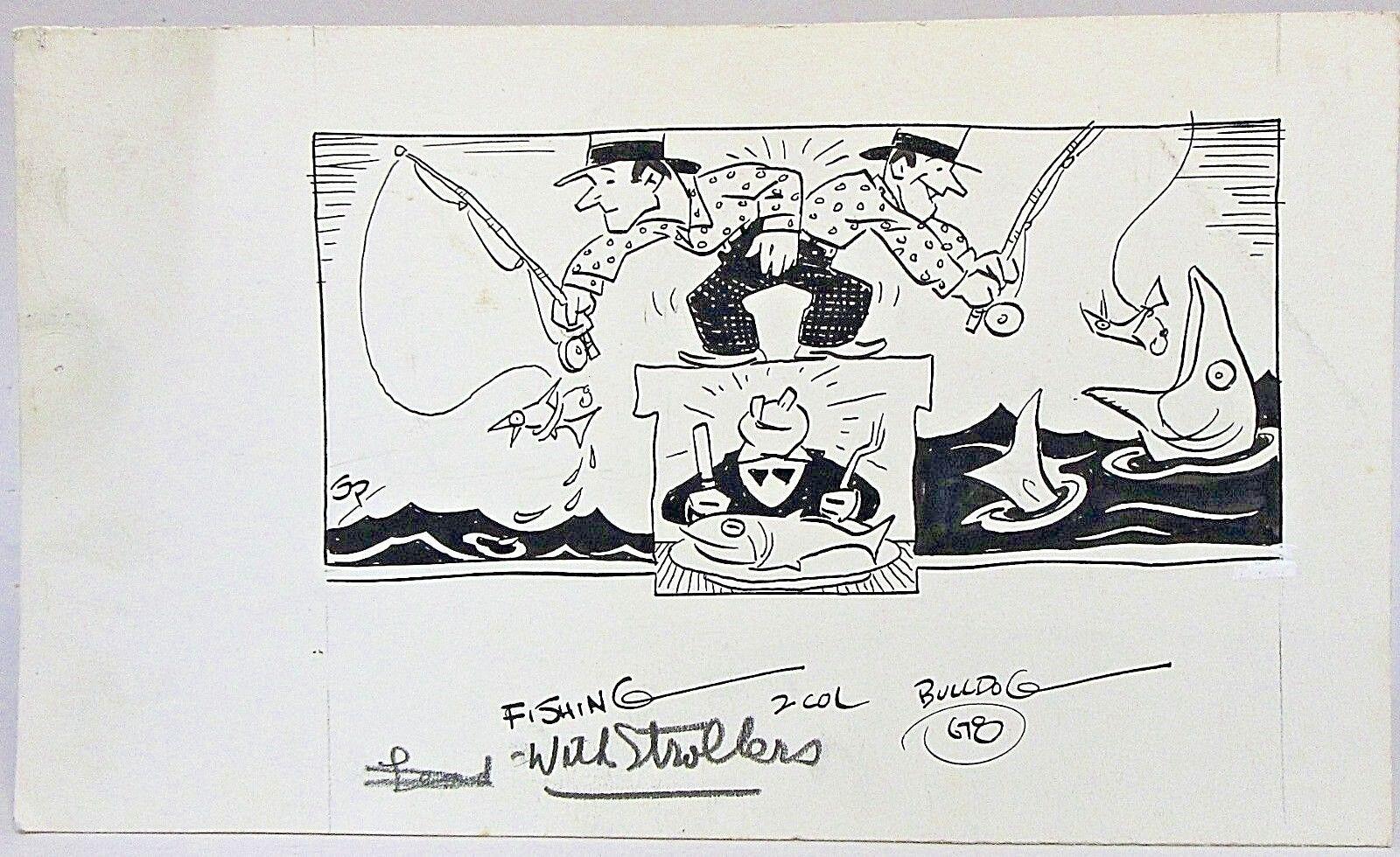 1920's - 1930's FISHING WITH STROLLERS original art Stuart Pratt Pratt Pratt SEATTLE TIMES a67eca