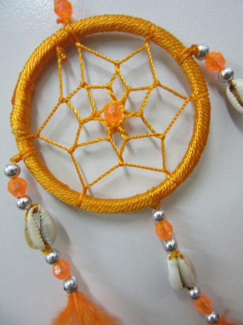 Bright Nylon Orange Shell & Silver Beads 6cm Web Dream Catcher 32cm Total Length