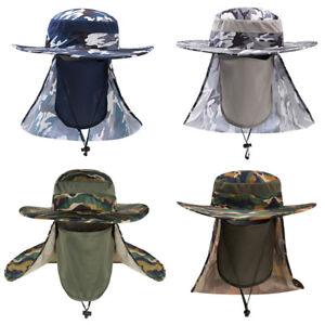 f1621240e71fc Men Wide Brim Camouflage Cap Outdoor Sun Protection Face Neck Cover ...