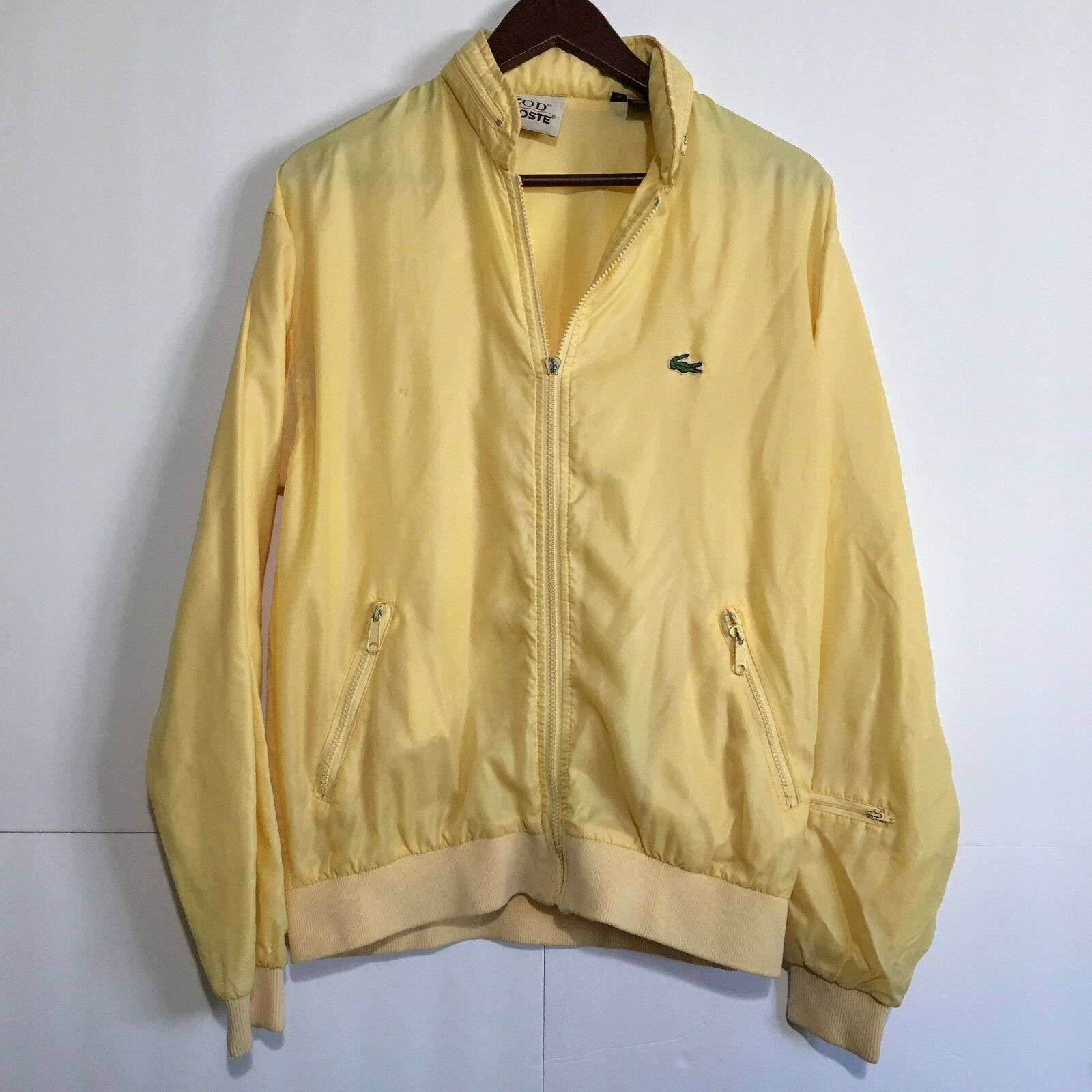 Izod Lacoste Medium Vintage Windbreaker Mens Full Zip Up Hidden Drawstring Hood